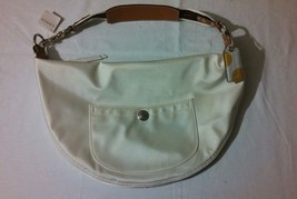 NWT VHTF Authentic Coach White Sateen Hampton Weekend Large Hobo 10661 M... - $89.99