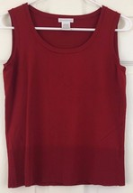 Worthington Sleeveless Sweater Knit Top Tank Shell Burgundy Rayon Red Si... - $11.83