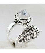 Natural Rainbow Moonstone Ring-925 Sterling Silver Leaf Design Ring-Women Ring - $39.49