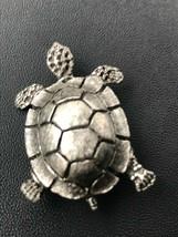 Vintage Etched Oxidized Silvertone Metal SEA TURTLE Pin Brooch – 1.75 x ... - $14.89