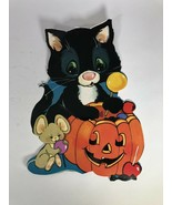 Vtg Eureka Die Cut Paper Halloween Decoration Black Cat Pumpkin Mouse Ho... - $14.85