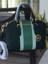 MICHAEL KORS CIARA MEDIUM MESSENGER CROSSBODY BAG GREEN STRIPE  LEATHER ... - $87.11