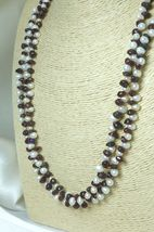 White Freshwater Pearl Garnet Gemstone Nugget Long Necklace 41 Inch - $38.00
