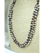 White Freshwater Pearl Garnet Gemstone Nugget Long Necklace 41 Inch - $38.00