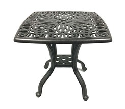 Patio end table Elisabeth cast aluminum square balcony accent outdoor furniture image 1
