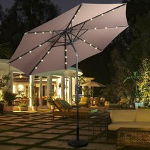 10ft Solar Patio Umbrella Sunbrella Lights, 8 Ribs Market Steel Tilt for... - $94.20