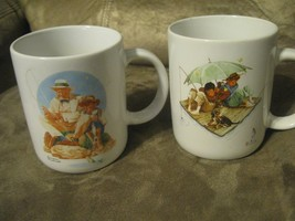 (2) VINTAGE NORMAN ROCKWELL COFFEE MUG'S FISHING THEME MUSEUM COLLECTION... - $14.01