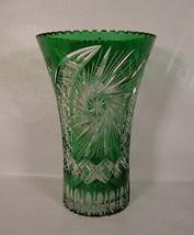 "Bohemian Czech Hand Cut to Clear Crystal Green Vase 12"" - $396.00"
