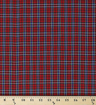 Tartan Plaid Shirting Red Polyester/Cotton Yarn Dyed Fabric by the Yard D157.25 - $7.99