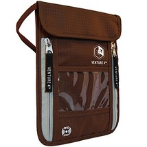 Passport Holder Neck Pouch With RFID – Safety Brown ID Holders - $18.13