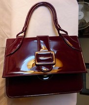 Lovely Vintage 1960s Maroon Patent Leather Handbag Gored Not Convertible - $135.00