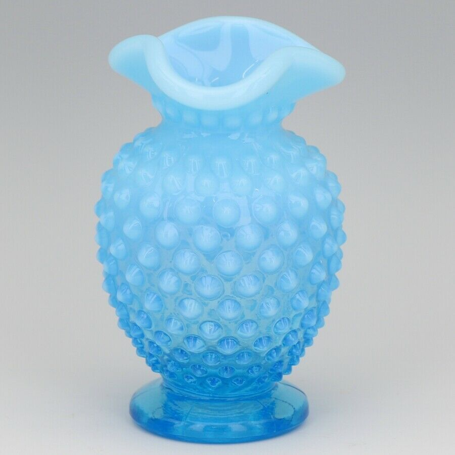 Vintage Fenton Art Glass Opalescent Blue Hobnail Small Tri Corn Vase