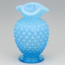 Vintage Fenton Art Glass Opalescent Blue Hobnail Small Tri Corn Vase image 1