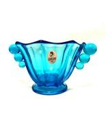 Fenton Blue Art Glass Nut Dish Bowl Handmade in USA New Old Stock 3.25 i... - $26.72