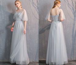 Light Gray Burgundy Blush Pink Blue Bridesmaid Dress Tulle Wedding Dress Sleeves image 2