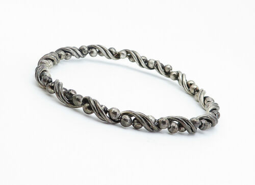 925 Sterling Silver - Vintage Dark Tone Ball Bead Twist Bangle Bracelet - B6113 image 3
