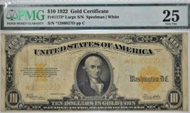 1922 $10 Gold Certificate; Fr.-1173*; PMG-25; Scarce Star Note!   - $890.99