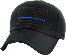 Thin Blue Line Law Enforcement Police Distressed Adjustable Patched Dad Hat - $17.09