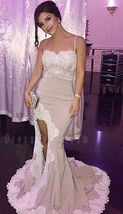 Dramatic Mermaid Spaghetti Straps Sleeveless Split Front Long Prom Dress with La - $175.00