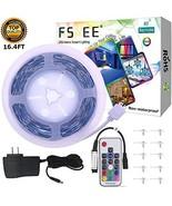 5050 RGB LED Strip Light Kit,FSJEE 16.4FT 150 LEDs Rope Lights Non-Water... - $17.70