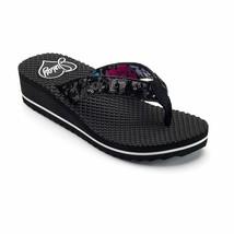 NWT Juicy Couture Low Heel Platform Flip Flops Sandals Shoes - Black - $34.95