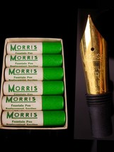 12 vintage morris Fountain pen nibs - original box -  gold replacement - calligr image 1