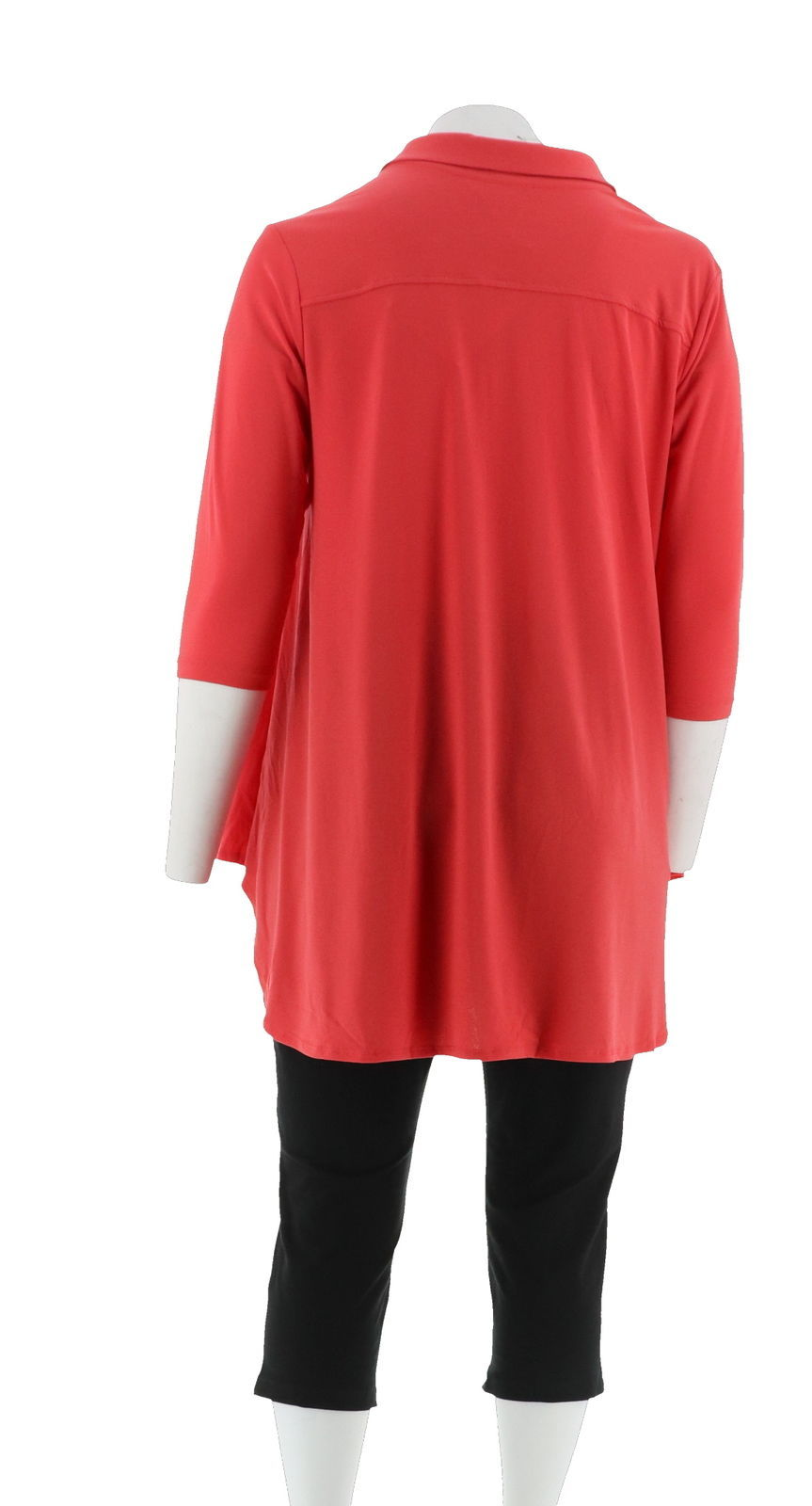 Women with Control Crepe Jersey Tunic Crop Pants Set Hibiscus PXXS NEW A290084