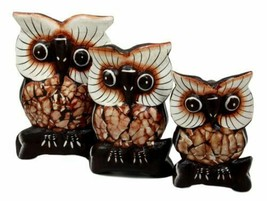 Balinese Wood Handicrafts Forest Owl Family Set of 3 Decorative Figurine... - $23.99