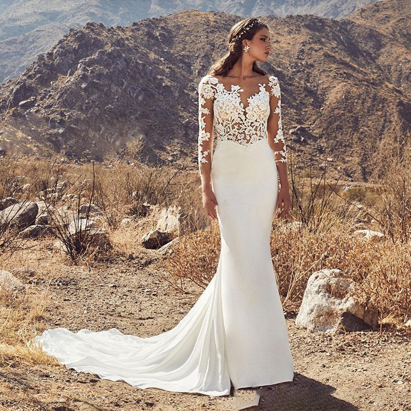 Edding dresses 2020 sexy lace backless bridal gowns with long sleeves boho wedding dress vestido