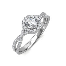 0.95 Carat Round Cut Diamond Twist Halo Set Engagement Ring In Platinum - $1,727.34