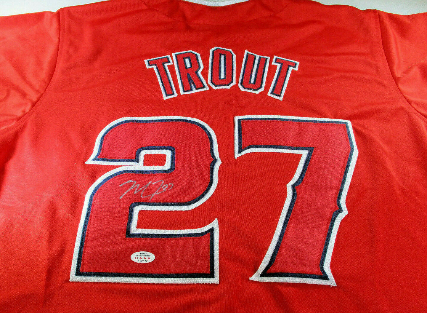 best service 27da1 2d9eb MIKE TROUT / AUTOGRAPHED LOS ANGELES ANGELS RED CUSTOM BASEBALL JERSEY / COA