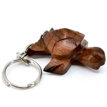 Hand Carved Ironwood Wood Folk Art 3D Sea Turtle Keychain image 4