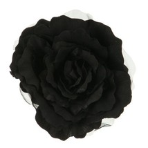 XL Flower 7 inch Rose Silk Pin Clip on - Black - $35.21