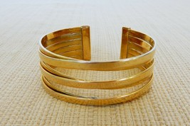 Vintage gold tone open work metal cuff bracelet - $15.00