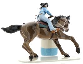 Hagen-Renaker Specialties Ceramic Horse Figurine Rodeo Barrel Racer with Barrel image 4