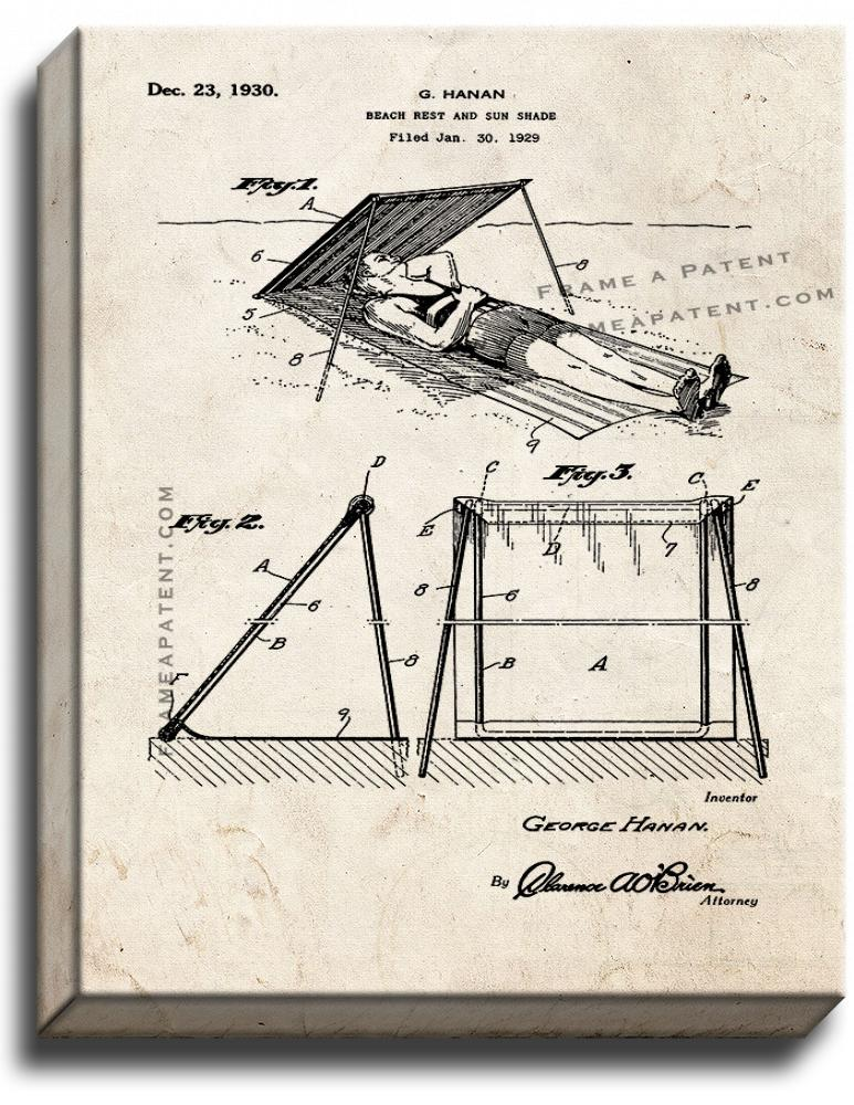 Primary image for Beach Rest And Sunshade Patent Print Old Look on Canvas