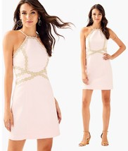 $198 Lilly Pulitzer Pearl Paradise Tint Pink Gold Lace Detail Shift Dress - $161.99
