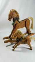 wooden hand crafted horses, christmas decorations - $19.80