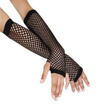 2pr Hot Topic Long Fingerless Fishnet Gloves Black Gothic Punk 80s Tatto... - $134,49 MXN