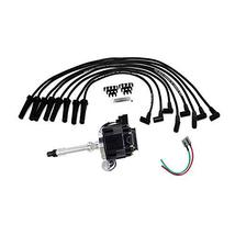A-Team Performance HEI Distributor Black Cap with Black Spark Plug Wires Set and