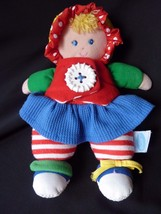 """Vintage Eden Baby Doll Plush 10"""" Button Red Green Blue Stuffed Toy - $39.15"""