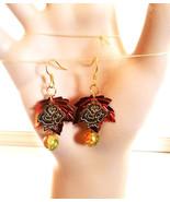orange leaf glass drop earrings dangles leaves charms sequin leaf handma... - $2.40