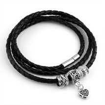 BAMOER Mens Women Vintage Charm Braided Leather Rope Woven Wrap Cuff Br... - $25.85