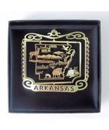Arkansas State Landmarks Brass Ornament Black Leatherette Gift Box - $16.00