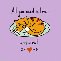Cat T-shirt Sizes S M NWT Gildan All You Need Is Love Cotton New Purple - $20.20