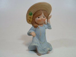 Country Cousins Figurines Enesco Vintage Porcelain Country Girl with hat - $9.95