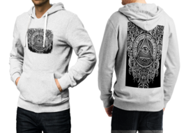 illuminati Tattoo  White Cotton Hoodie For Men - $39.99