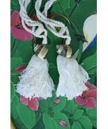 2 Unique Pearlized Nacre Tapestry Turban Seashell Designer Tassels Drape... - $23.74