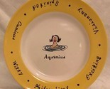 "Pottery Barn WHAT'S YOUR SIGN? ""AQUARIUS"" 8"" Collectible Salad Plate Yellow Rim"