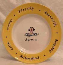 """Pottery Barn WHAT'S YOUR SIGN? """"AQUARIUS"""" 8"""" Collectible Salad Plate Yel... - $10.99"""